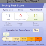 Dvorak Typing Speed Week One