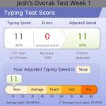 Dvorak Typing Speed Week One